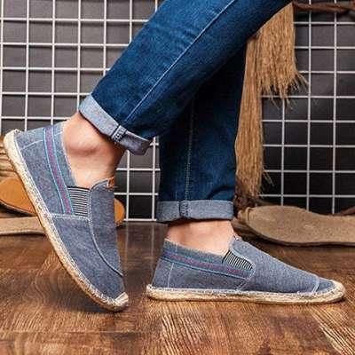 Men's Canvas Elastic Band Flats Loafers