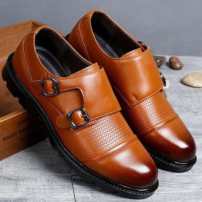 Men Microfiber Leather Cap Toe Non-slip Double Monk Shoes