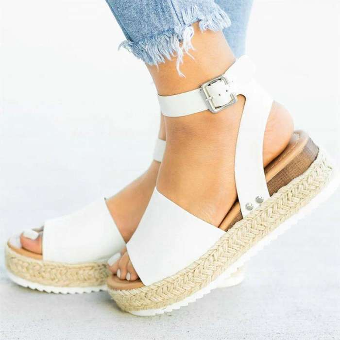 Summer Adjustable Buckle Platform Sandals