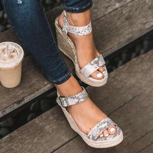 Women Elegant Adjustable Buckle Espadrille Wedges Sandals