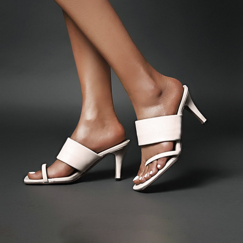 Sexy Toe Ring Slip-On Stiletto Heel Rubber Slippers