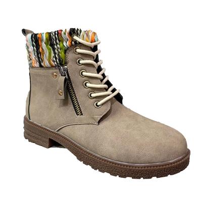 Women Fashion Zipper Hit Color Woolen Split Joint Lace Up Platform Boots