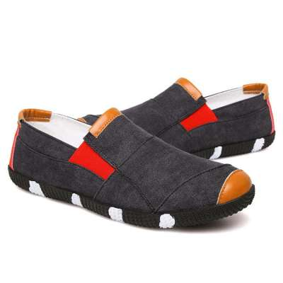 Men's  Canvas Splicing Flat Elastic Slip On Soft Sole Casual Shoes