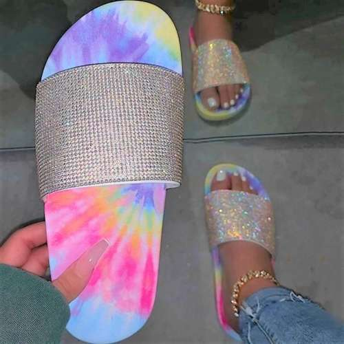 Slip-On Flip Flop Flat With Rhinestone Summer Slippers