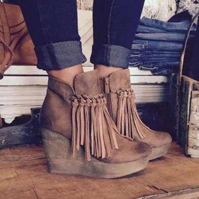 Wedge Booties Artificial Leather Tassel Boots Wedge Heel Zipper Shoes