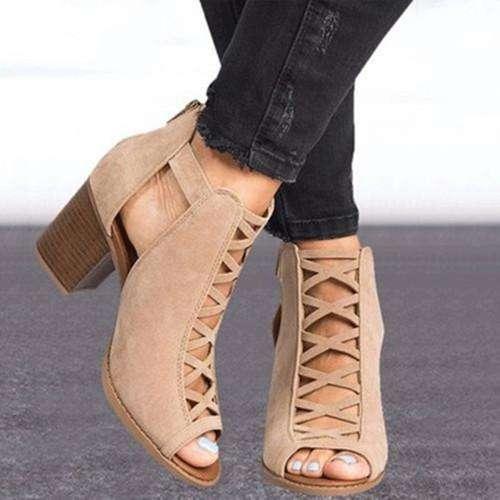 Women's Heels Nubuck Chunky Heel Sandals