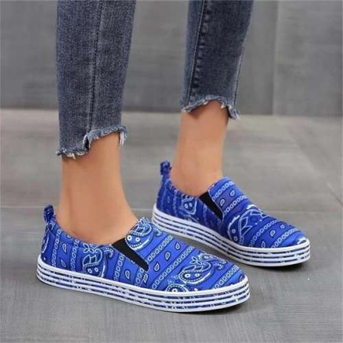 Women Fabric Characteristic Pattern Slip On Skate Loafer