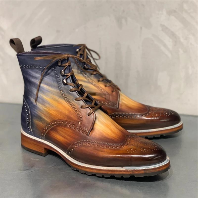 Men's Bullock Carved Genuine Leather Vintage Rub Color Martin Boots