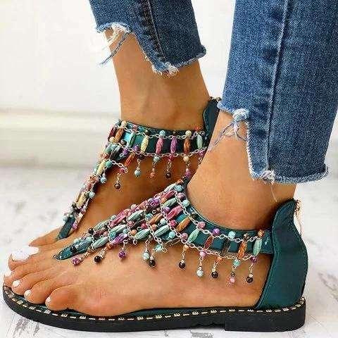 Boho Beaded Toe Ring Flat Sandals