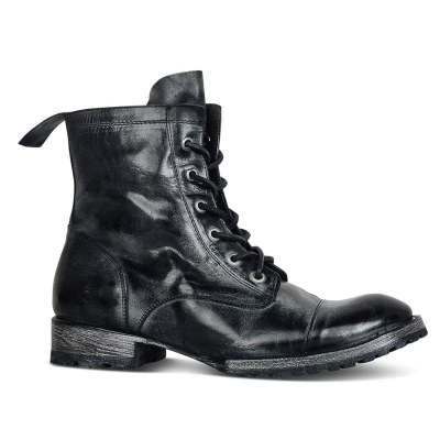 Men's Vintage Genuine Leather Lace Up Boots