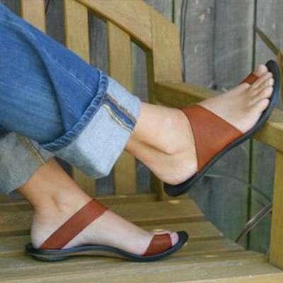 Slip On Open Toe Flat Heel Sandals