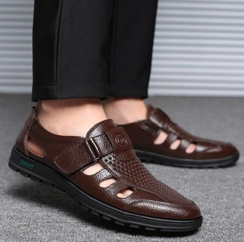 Big Size Men's Genuine Leather Sandals Outdoor Breathable Beach Shoes