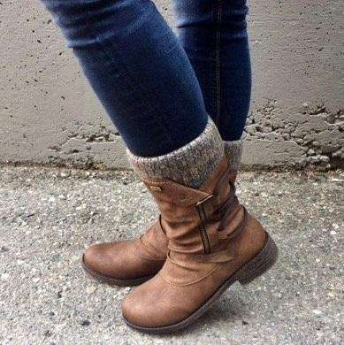 Mid-Calf Back Lace Up Boots Low Heel Knitted Fabric Boots