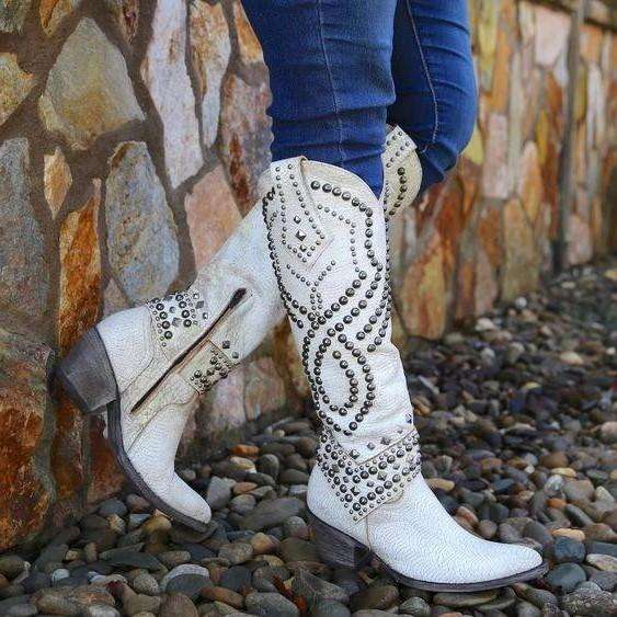 Women's Rivets Pointed Toe Western Cowboy High Boots