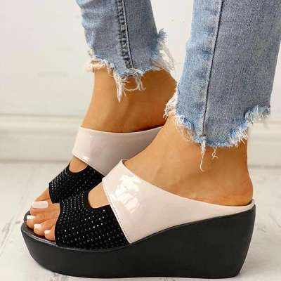 Studded Muffin Wedge Sandals