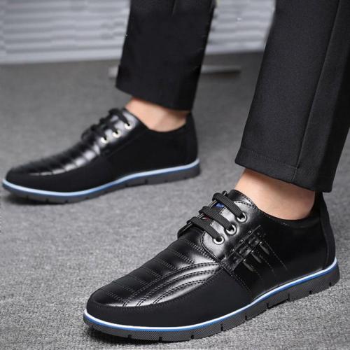 Genuine Leather Design Elastic Band Solid Tenacity Comfortable Men's Shoes