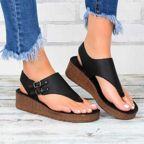 Women Roman Hollow Out Ankle Strap Wedge Sandals