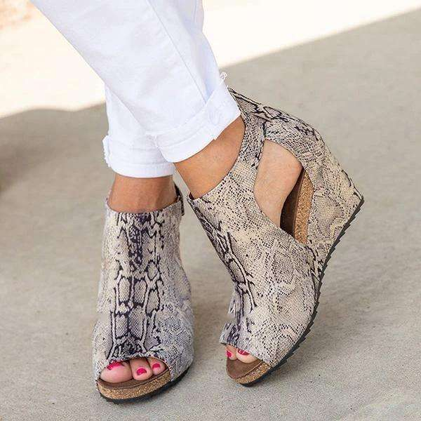 Peep Toe Blocking Hook-Loop Wedges Sandals