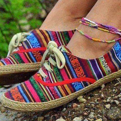 Flower Cloth Flat Heel All Season Hiking Lace-Up Sneakers
