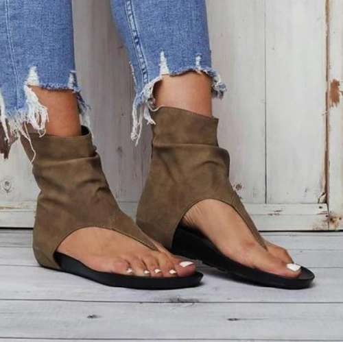 Hollow out Back Zipper Flat Sandals
