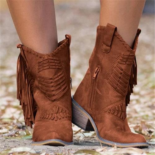 Fringe Leather Women Boots