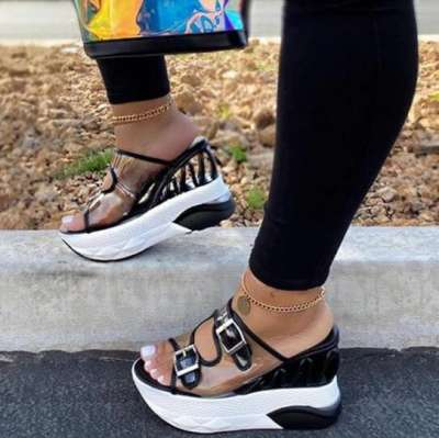Flip Flop Hollow Slip-On Wedge Heel Summer Patchwork Slippers