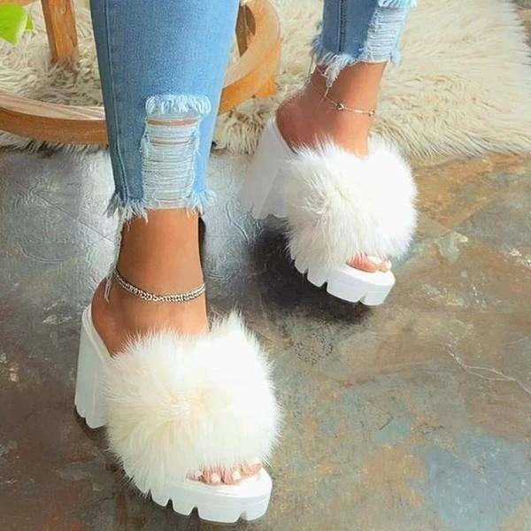 Slip-On Flip Flop Chunky Heel Platform Plain Summer Slippers