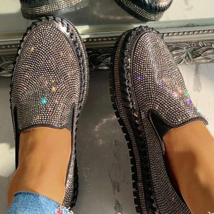 Women Casual Fashion Rhinestone Slip-on Loafers