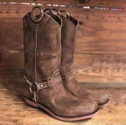 Plain Flat Round Toe Date Outdoor Mid Calf Flat Boots