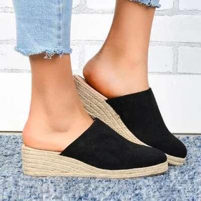 Mule Espadrille Wedges Suede Closed Toe Women Sandals