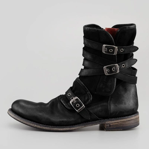 Men's Retro Multiple Buckle Retro Ankle Boots-Black Friday