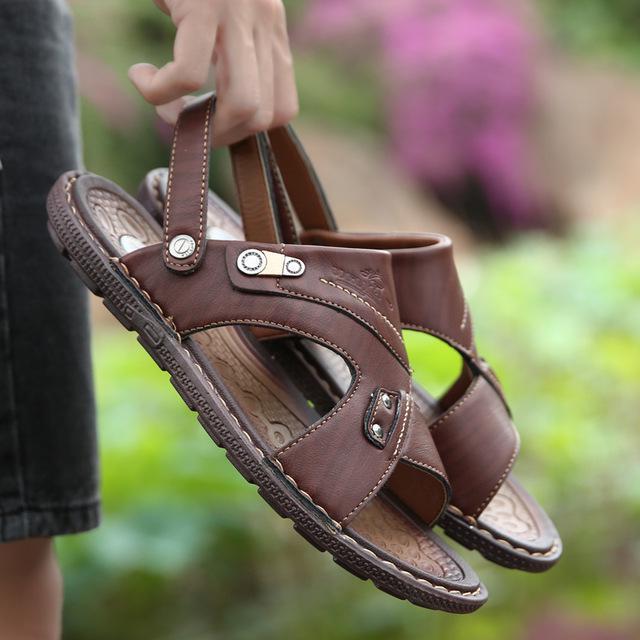 Men's Summer Leather Sandals Breathable Flip Flops Shoes