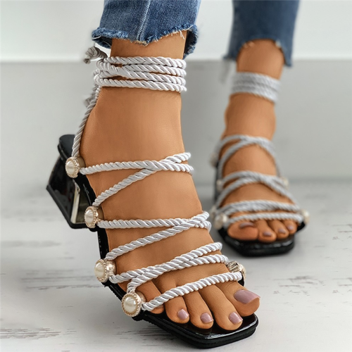 Crisscross Rope Bead Detail Block Heel