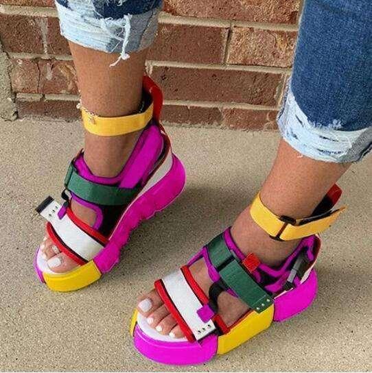 Women Athletic Pu Spring Magic Tape Sandals