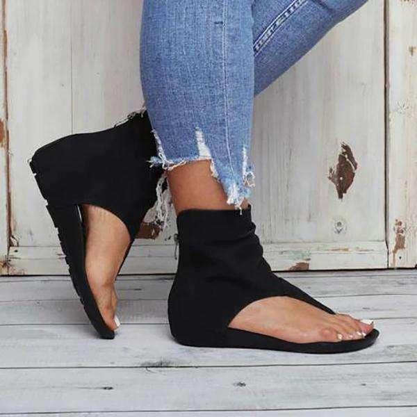 Hollow out Back Zipper Flat Sandals