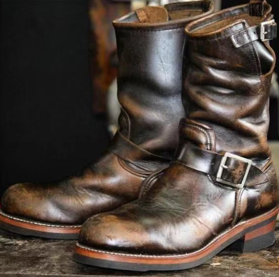 Men's Vintage Leather Mid Engineer Boots