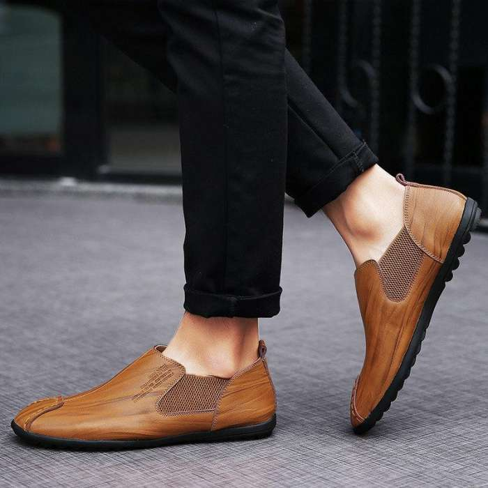 Men's Stitching Elastic Panels British Style Flat   Low-top Casual Shoes
