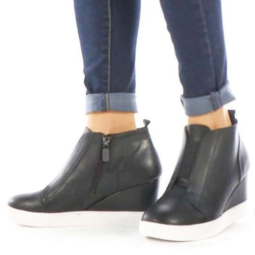 *Comfort Wedge Sneaker Elastic Slip On Wedge Heel Shoes