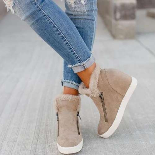 Warm Zipper Platform  Boots