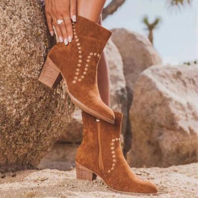 Women's Fashionable Rivet Zipper Chunky Heel Boots