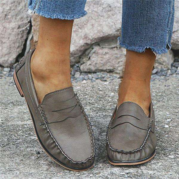 Low Heel One-Step Leather Shoes