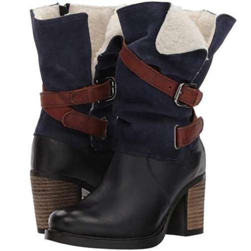 *Women Vintage Chunky Heel Mid-Calf Boot