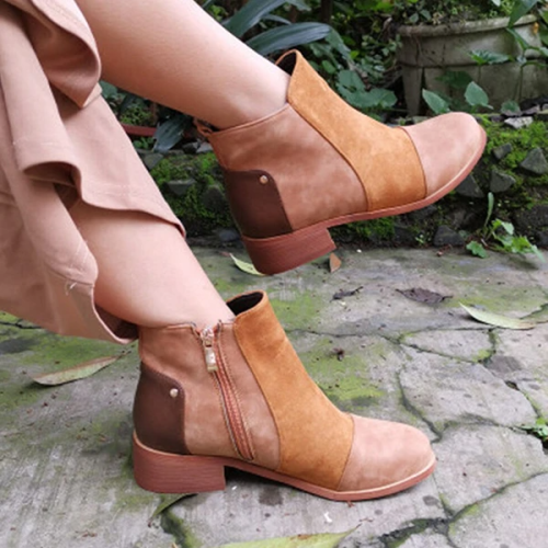 Women Chelsea Splicing Zipper Block Heel Ankle Boots