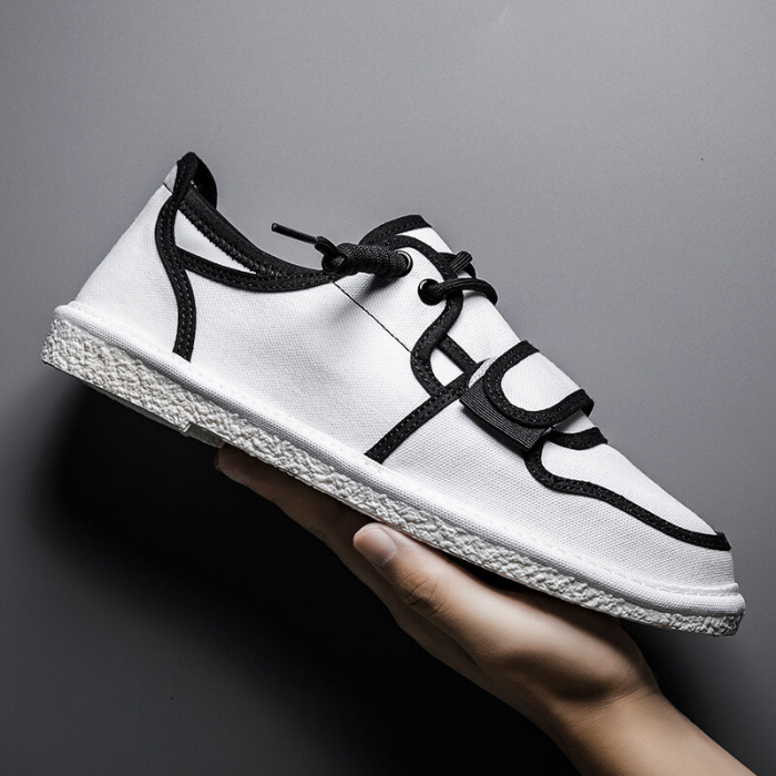 Men Cloth Breathable Non Slip Hook Loop Soft Sole Casual Shoes