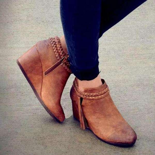 Vintage Wedge Tassels Boots