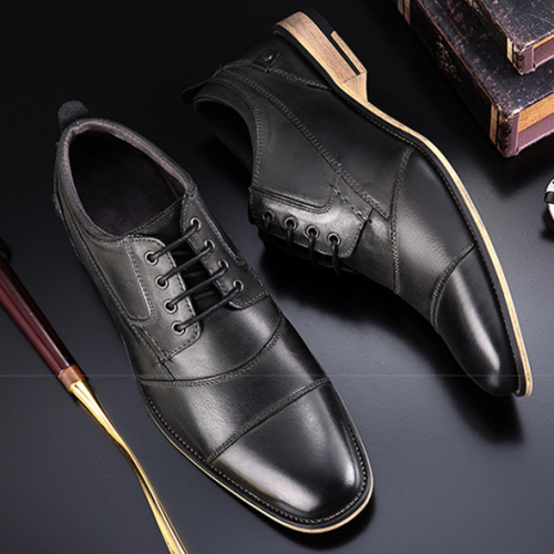 Men's Leather Shoes Top Quality  Wood Heel Oxfords