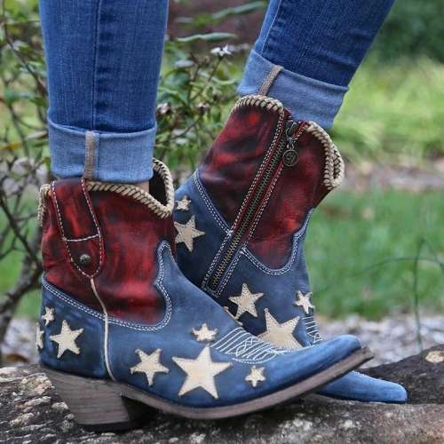 Women Vintage Pointed Toe Star Colouring Short Boots