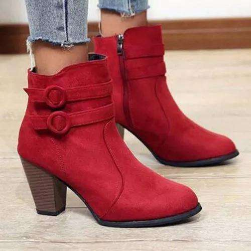 Women's Buckle Zipper Ankle Boots