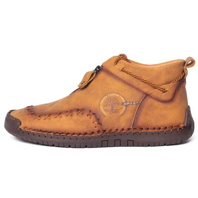 Men's High-top Hand-stitch Zipper Flat Shoes