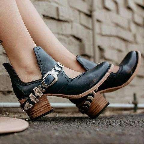 *Low Heel PU Cutout Ankle Boots Vintage Adjustable Buckle Booties